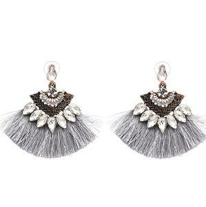 Tassel fringe earrings gray crystal
